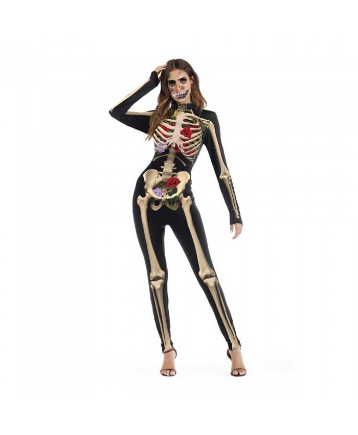 Elite Collection, Floral Bones Halloween Jumpsuit
