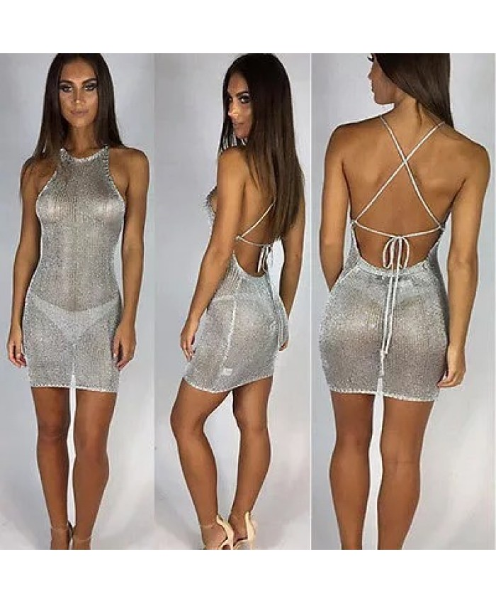 Sexy Silver Mesh Beach Cover up