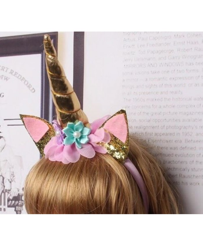 Unicorn Head Band Gold & Pink