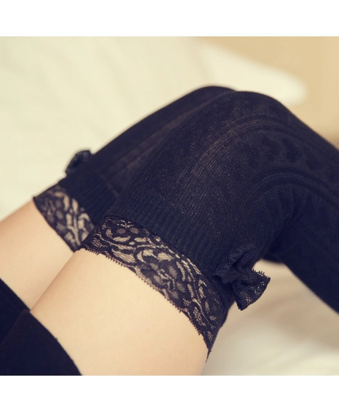 Black Knee High Lace Socks