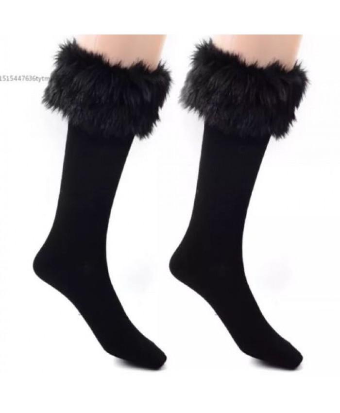 Winter Black Faux Fur Knee High Socks