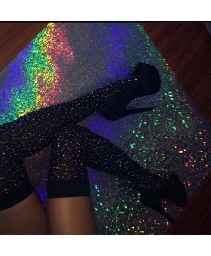 Bling Sparkly Glitter Over The Knee Socks