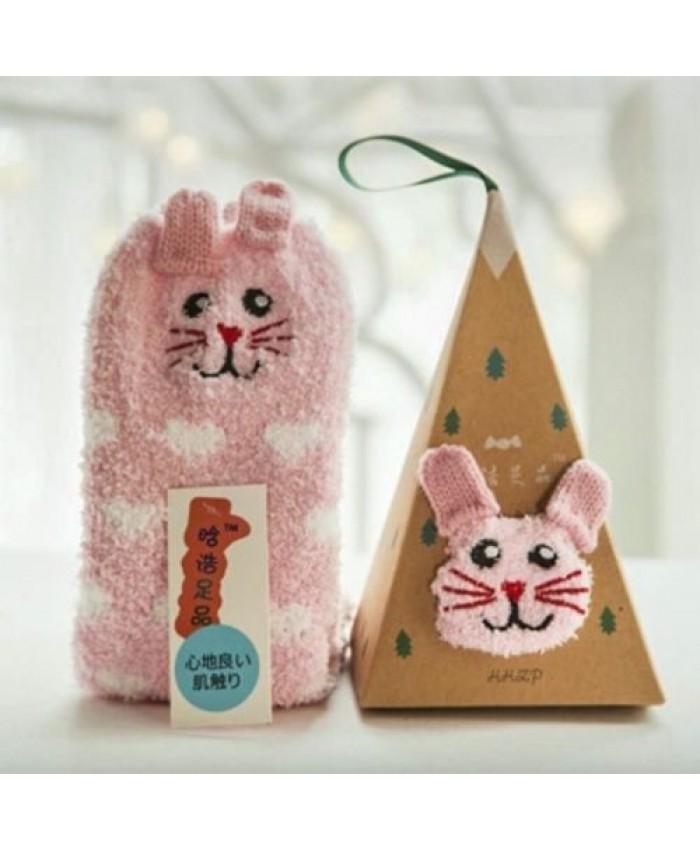 Fluffy Bunny Christmas Socks