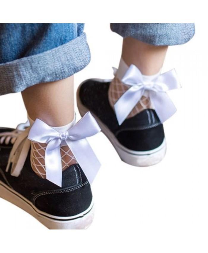 Black Fishnet Socks with White Bow