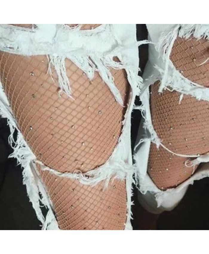 Nude Glitter Sparkly Fishnet Tights