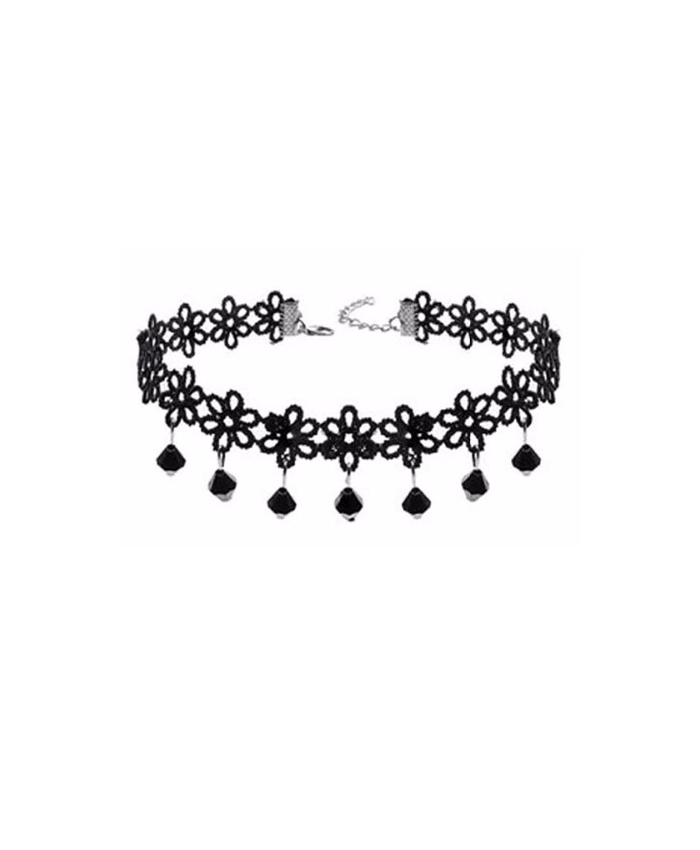 Black Flower Choker with Beads