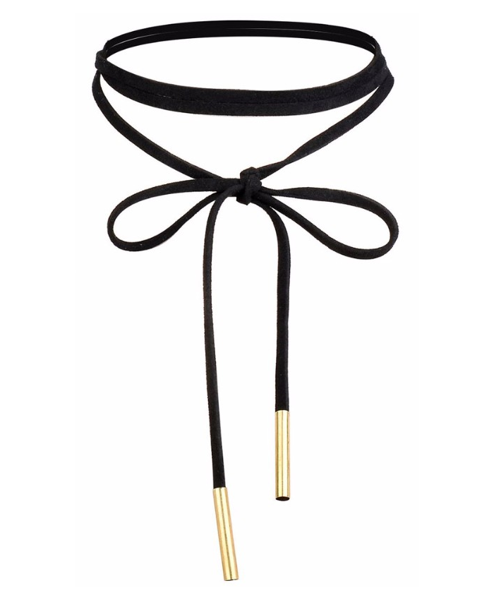 Black Velvet Choker, Long with tie fastening