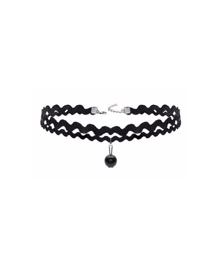 Black Wave Choker with Bead