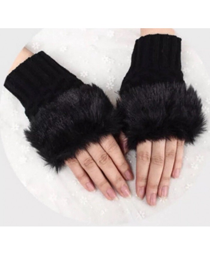 Women Ladies Mittens Fingerless Wrist Knitted Wool Winter Warm Faux Fur Gloves