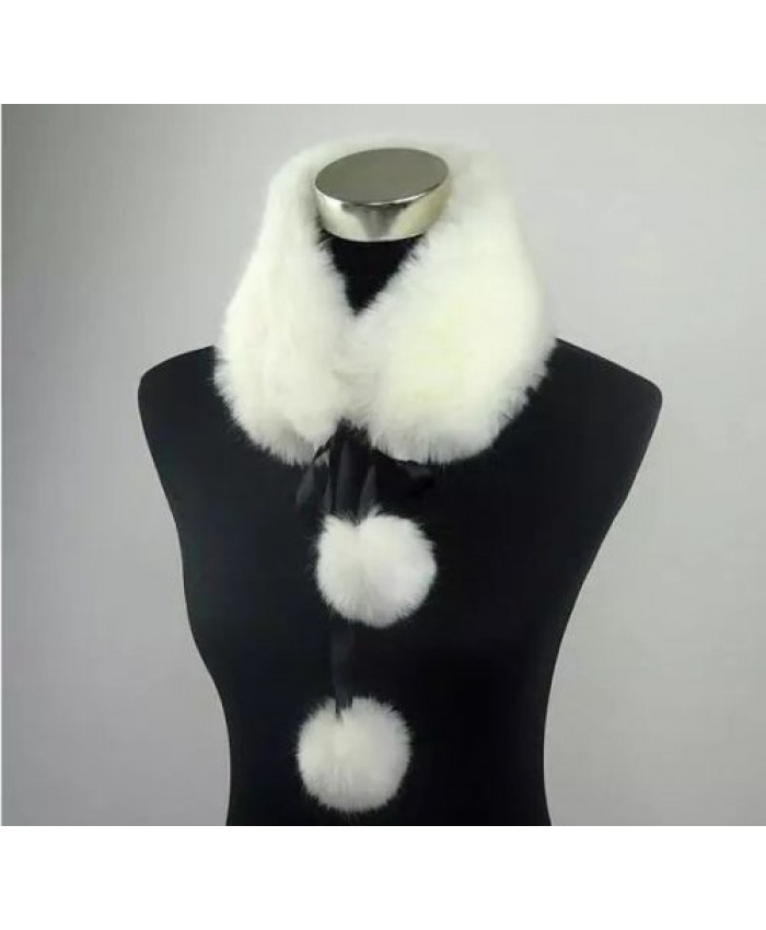 Faux Fur Scarf with Pom Poms