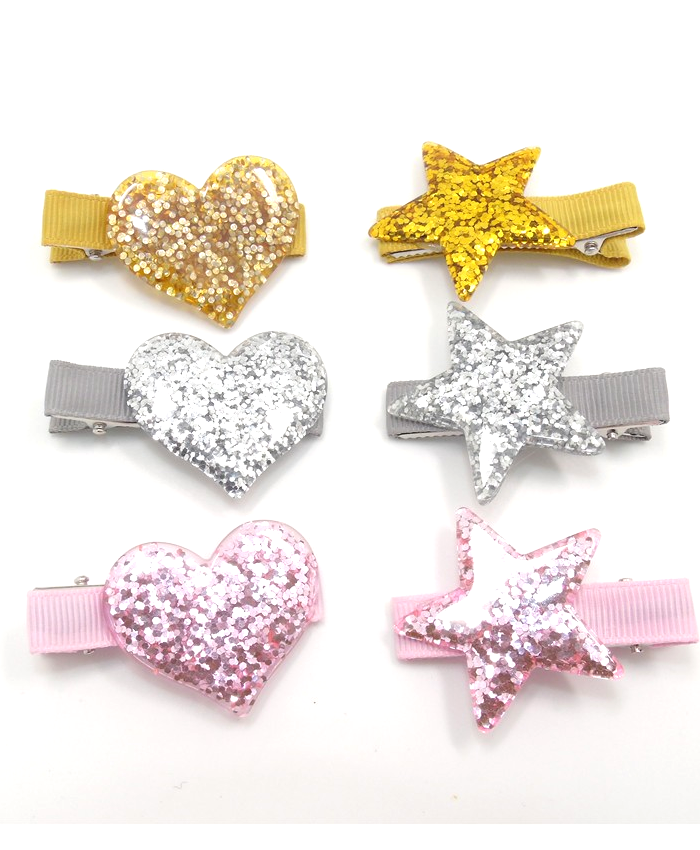 Glitter Party Hair Clip, Gold, Pink, Silver, Heart or Stars