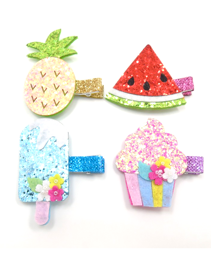 Glitter Hair Clips, Ice Pop, Pineapple, Watermelon or Cupcake