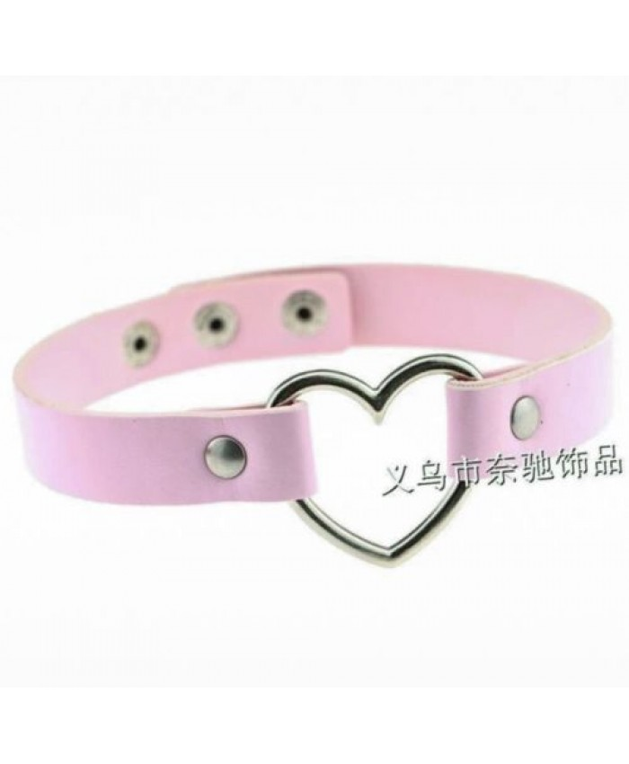 Pink Leather Choker with Heart