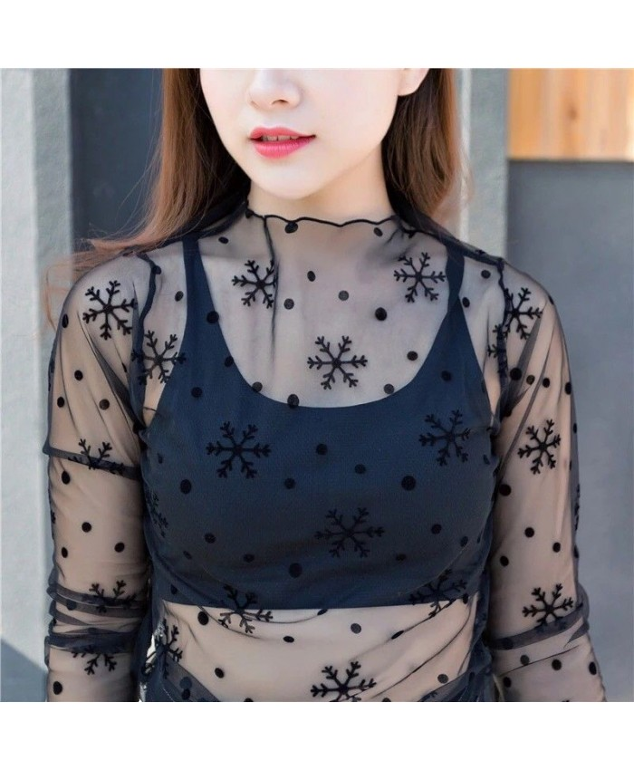 Black Mesh Snowflake Top