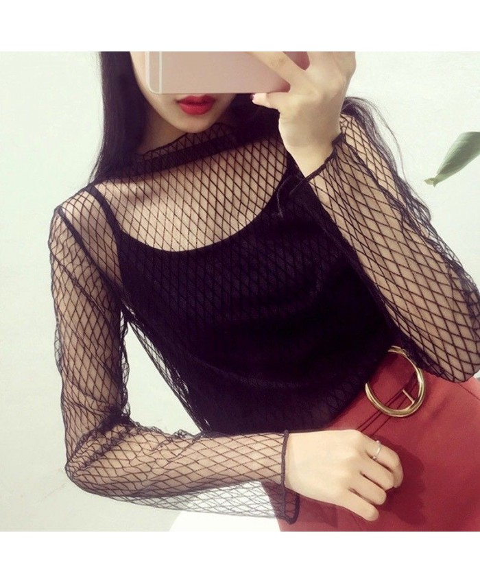Black Mesh Fishnet Top