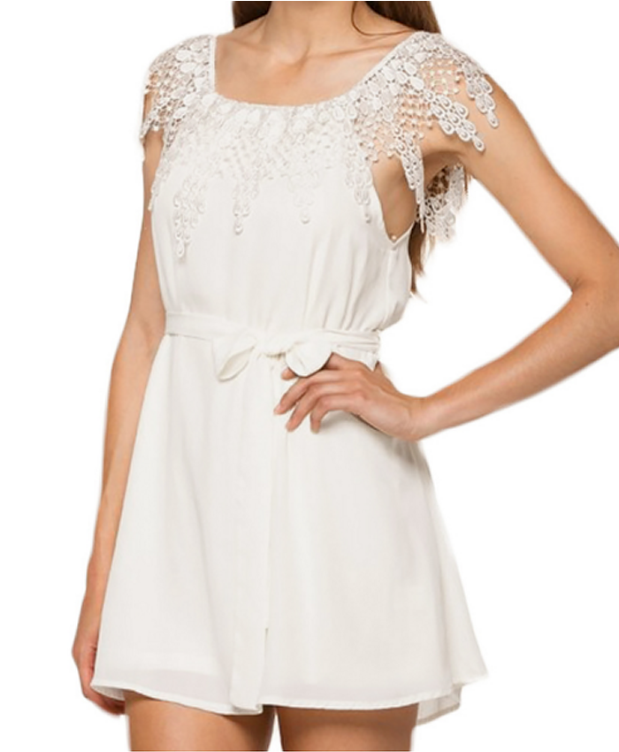 Festival Dress, Boho style, white chiffon