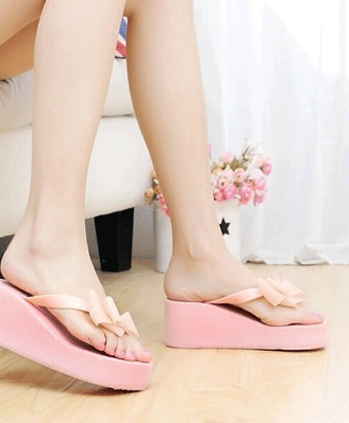 Wedge Bow Flip Flops, Pink or Blue