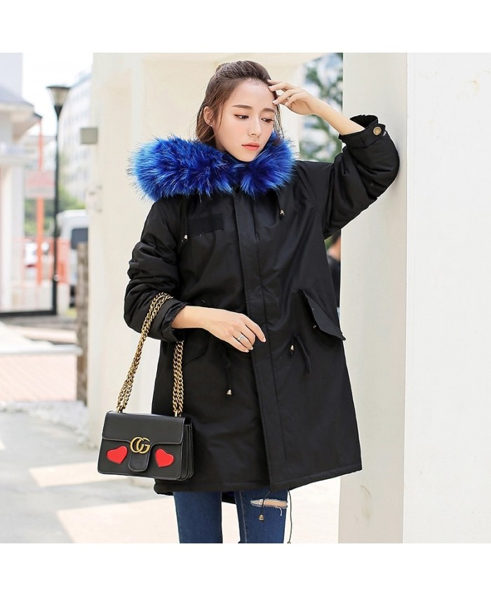 Gorgeous Parka With Faux Fur Blue Hood Trim
