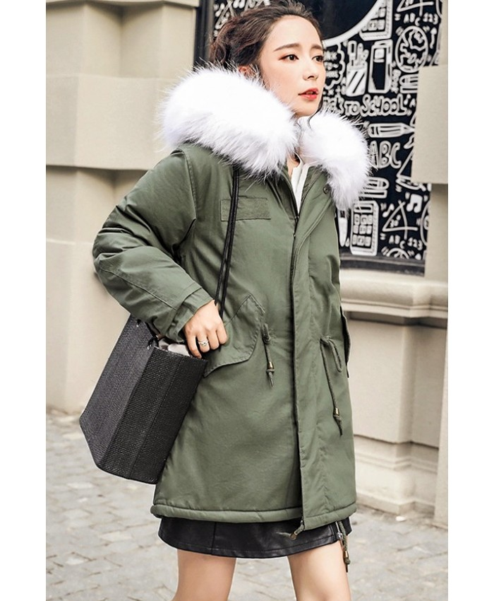 Gorgeous Parka With Faux Fur White Hood Trim