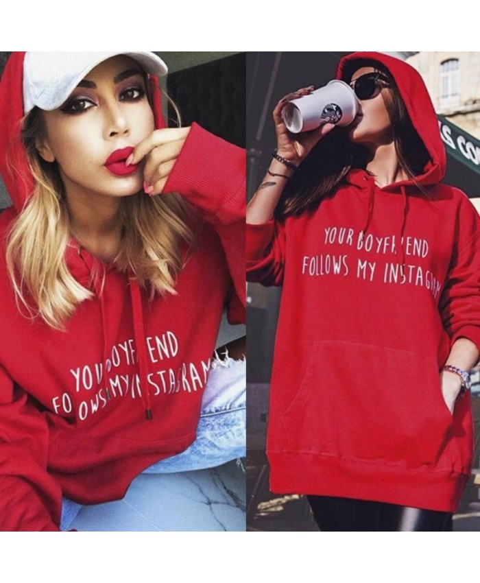 "Red Oversized Slogan  Jumper, ""Your Boyfriend Follows My Instagram"""