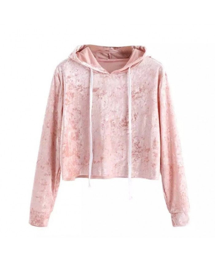 Pink Velvet Long Sleeve Hoodie, Sweatshirt, Jumper, Hooded Cropped Top