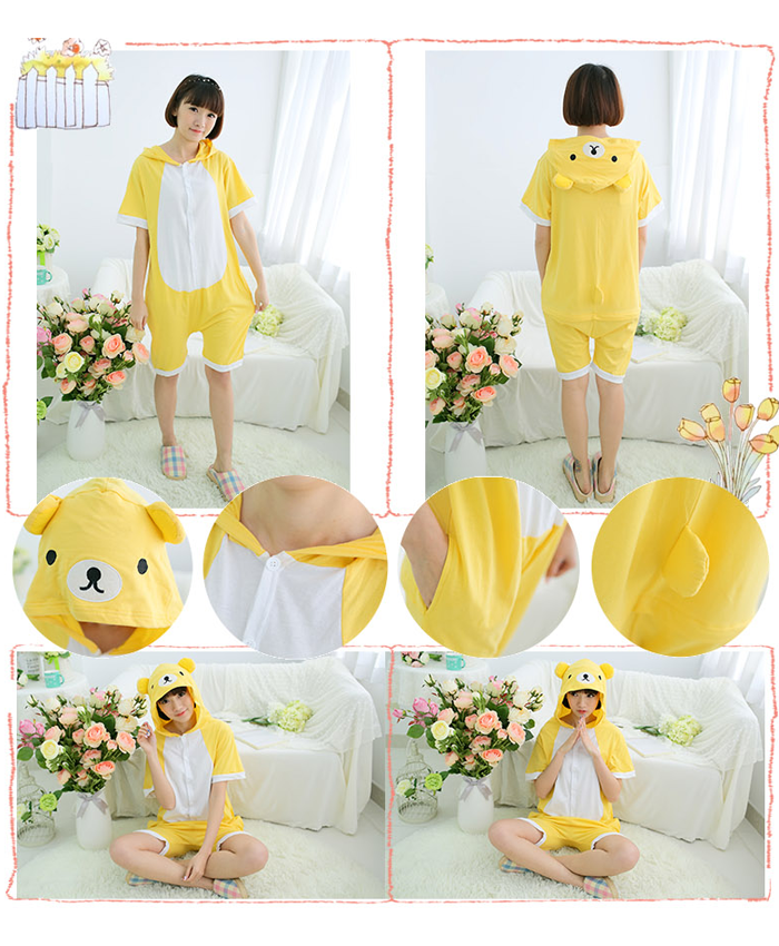 Short Animal Onsie - Yellow Bear