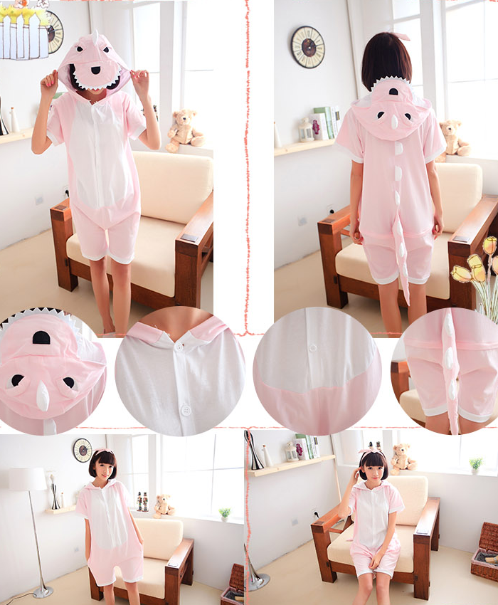 Short Animal Onsie - Pink Dino