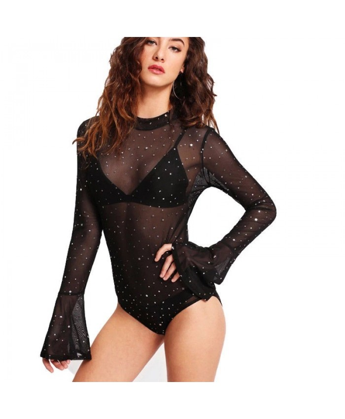 Black Mesh Body with Silver Stars