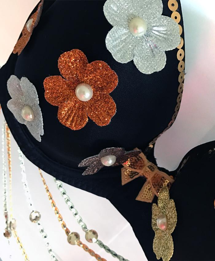 Black Floral Pearl Festival Bra