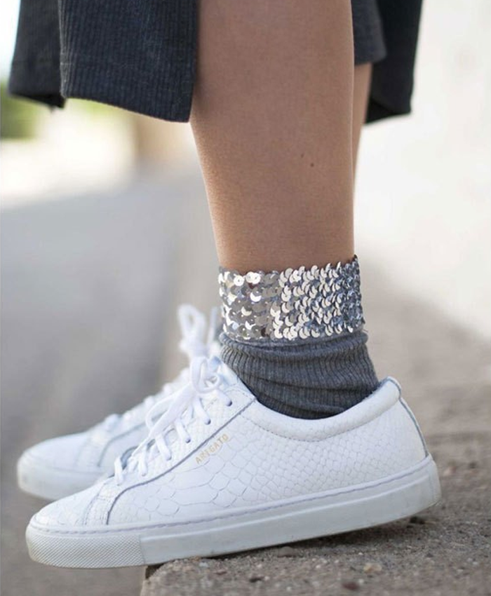 Grey Sparkly Ankle Socks